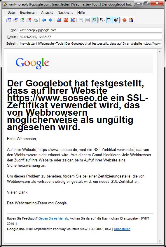 Google meldet Probleme mit SSL-Zertifikat